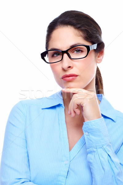 Stockfoto: Zakenvrouw · portret · denken · geïsoleerd · witte · vrouw