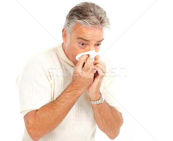 Influenza uomo isolato bianco salute medicina Foto d'archivio © Kurhan
