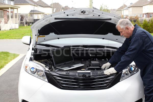 Samochodu mechanik silnika auto naprawy usługi Zdjęcia stock © Kurhan