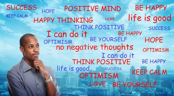 Positive thinking black man Stock photo © Kurhan