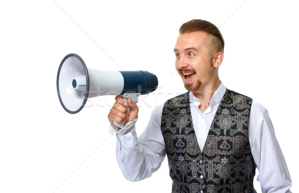 Young man with megaphone. Stock photo © Kurhan