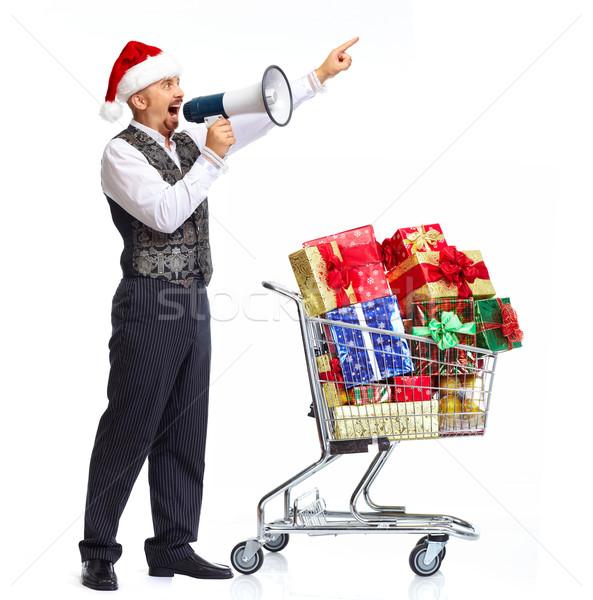 Santa man talking in megaphone. Stock photo © Kurhan