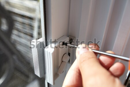 Door lock installation. Stock photo © Kurhan