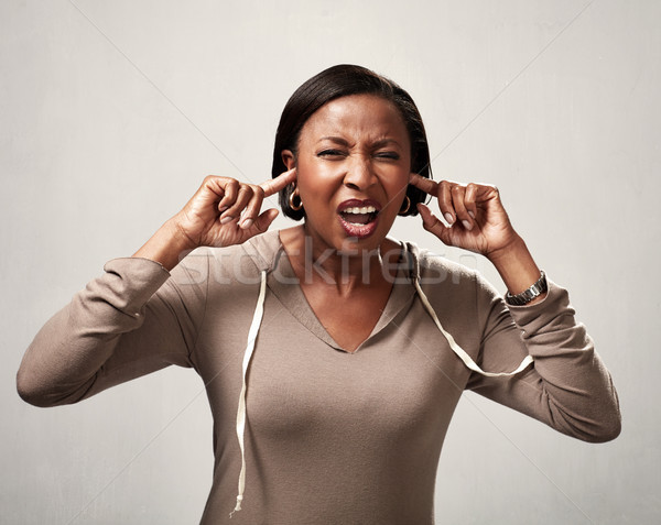 Black woman hearing anything Stock photo © Kurhan
