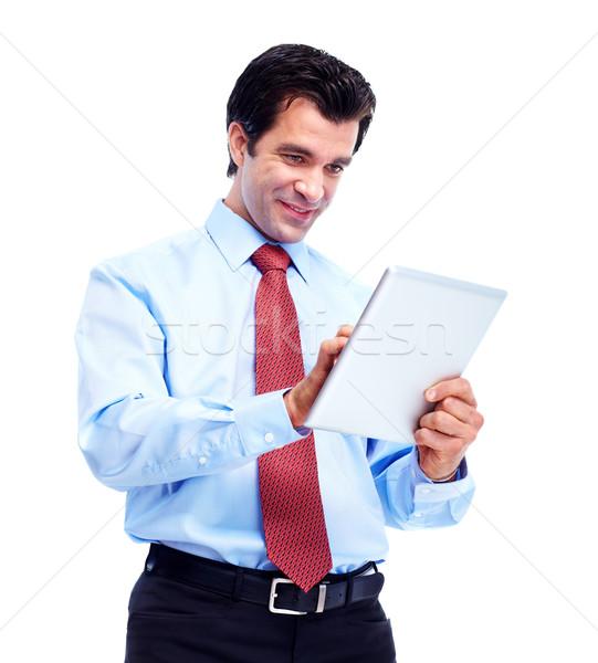 Boldog jóképű üzletember táblagép izolált fehér Stock fotó © Kurhan