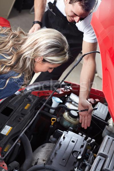 Professionelle Automechaniker Client Frau Hand Arbeit Stock foto © Kurhan