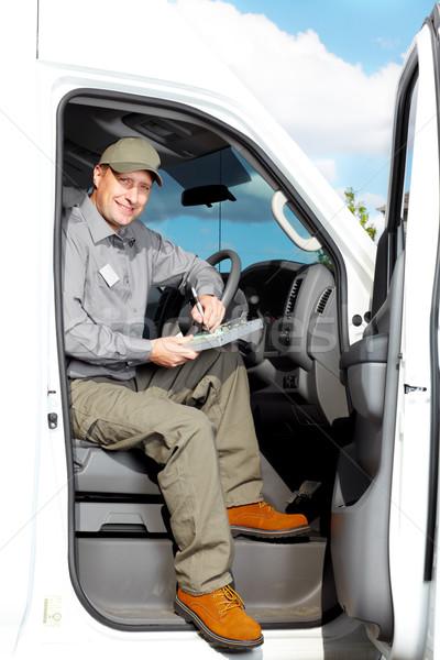 Stockfoto: Knap · vrachtwagen · bestuurder · glimlachend · auto · levering