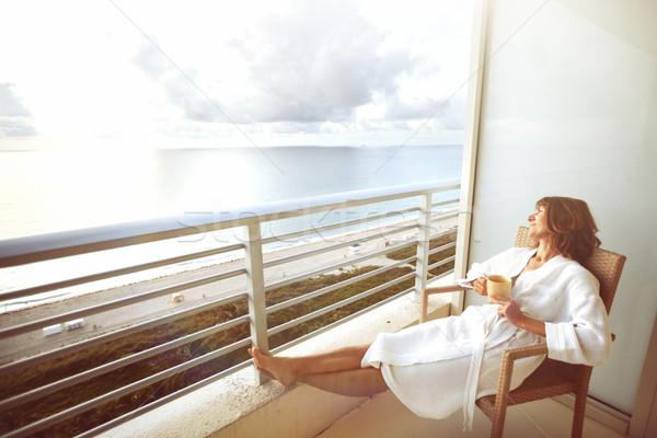 Foto stock: Mulher · hotel · potável · café · terraço · mar