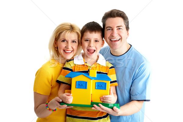 Foto stock: Família · família · feliz · pai · mãe · menino · branco