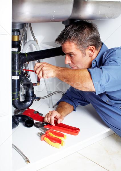 водопроводчика красивый раковина человека работу инструменты Сток-фото © Kurhan