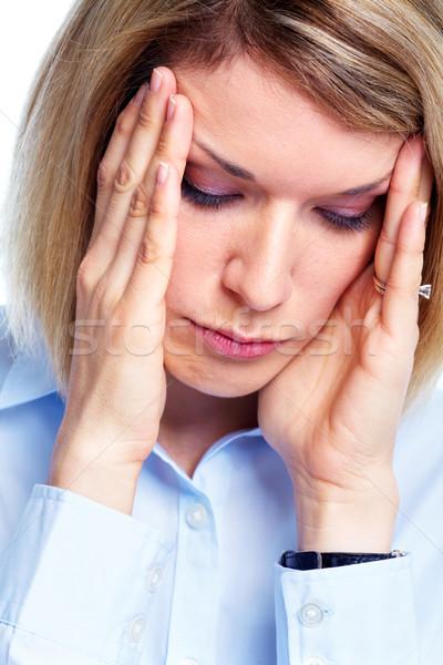 Stressz fiatal nő fej fájdalom nő arc Stock fotó © Kurhan