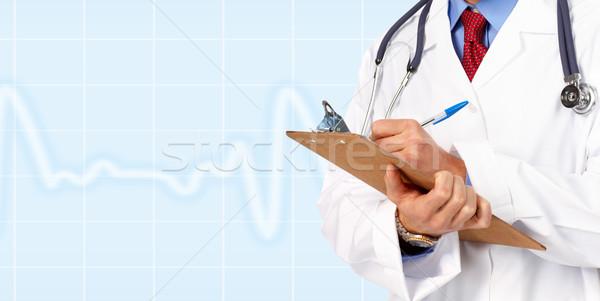 Medische arts cardioloog Blauw gezondheid achtergrond Stockfoto © Kurhan