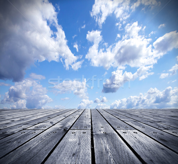 Wooden floor and the sky. Stock photo © Kurhan