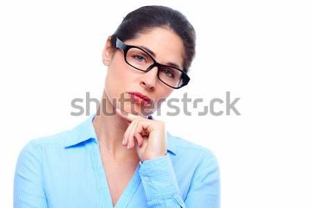 Сток-фото: деловой · женщины · портрет · мышления · изолированный · белый · женщину