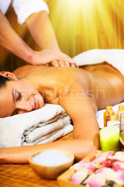 Beautiful woman having massage. Stock photo © Kurhan