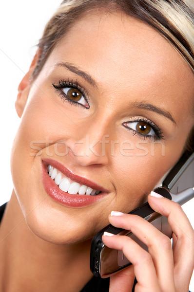 Сток-фото: женщину · молодые · деловой · женщины · призыв · сотовый · телефон · бизнеса