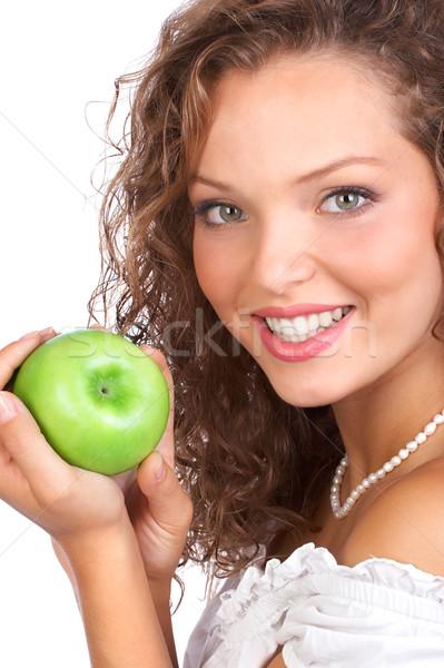Vrouw appel mooie jonge vrouw eten groene Stockfoto © Kurhan