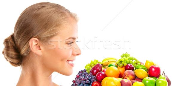 Woman, vegetables and fruits Stock photo © Kurhan