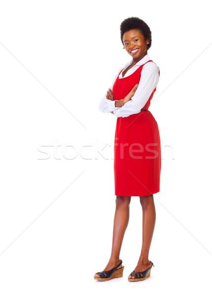 Jovem africano mulher de negócios isolado branco negócio Foto stock © Kurhan