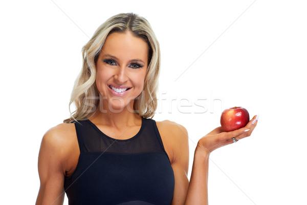 Woman eating apple Stock photo © Kurhan