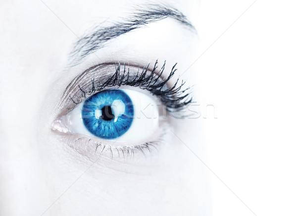 Mulher olho azul branco Foto stock © Kurhan