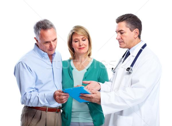 Stock fotó: Idős · pár · orvos · mosolyog · orvosi · izolált · fehér