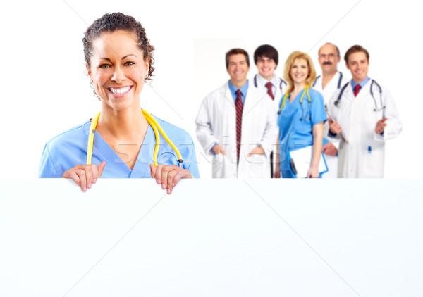Orvos nő szalag izolált fehér üzlet Stock fotó © Kurhan