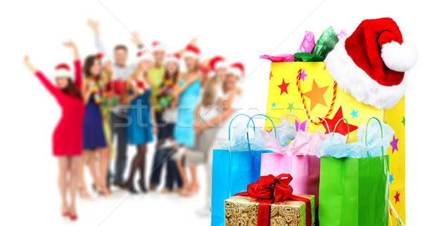 Piękna christmas torbę na zakupy grupy szczęśliwy osoby Zdjęcia stock © Kurhan