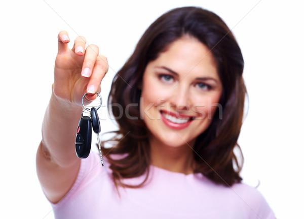 女性 車のキー 孤立した 白 ビジネス 少女 ストックフォト © Kurhan