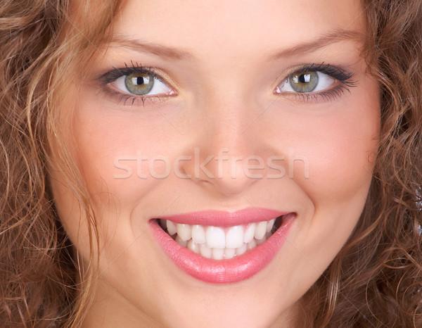 Stock foto: Frau · schönen · lächelnd · isoliert · weiß