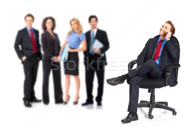 Stock fotó: üzletemberek · csoport · izolált · fehér · nő · mosoly