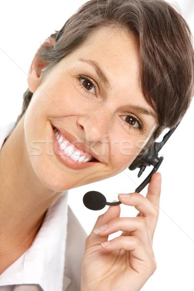 Call center operatora piękna zestawu odizolowany biały Zdjęcia stock © Kurhan