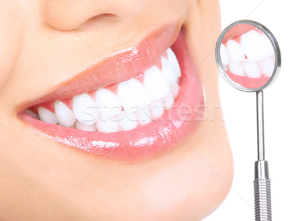 Saine dents femme dentiste bouche miroir Photo stock © Kurhan