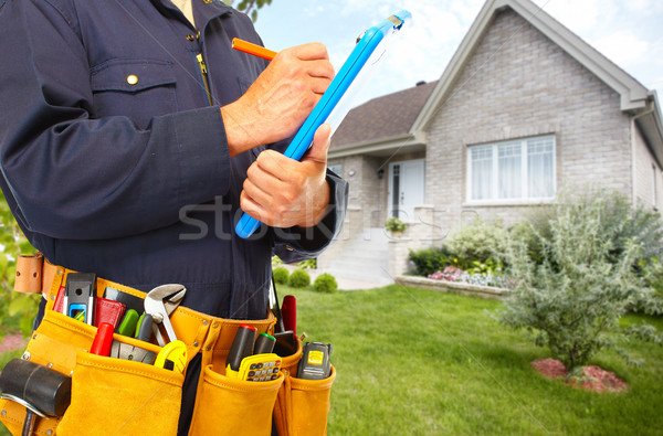 Hände Handwerker Tool Gürtel Haus Renovierung Stock foto © Kurhan