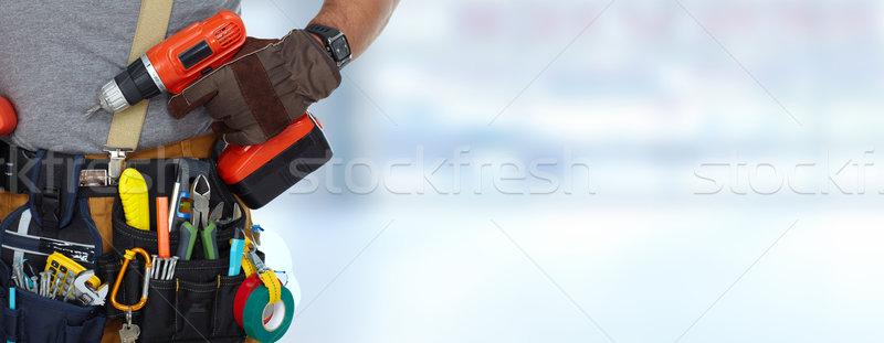 Constructeur bricoleur forage construction outils bleu Photo stock © Kurhan