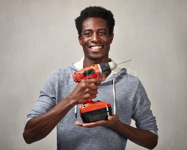 Homem negro três de um tipo jovem africano americano homem casa Foto stock © Kurhan