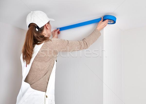Woman with masking tape Stock photo © Kurhan