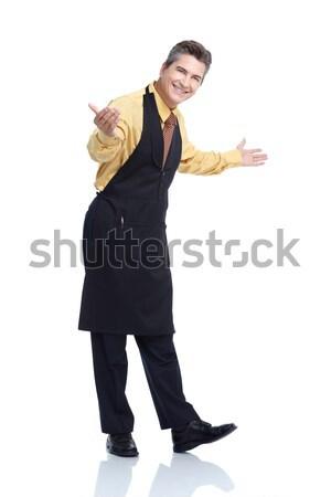 Stockfoto: De · ober · glimlachend · knap · geïsoleerd · witte · man