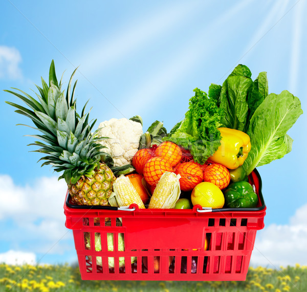 Grocery shopping basket with food. Stock photo © Kurhan