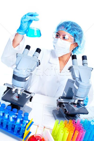 Bilimsel kadın çalışma laboratuvar Asya tıbbi Stok fotoğraf © Kurhan