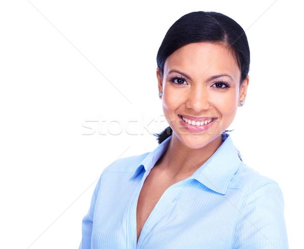 Stockfoto: Jonge · zakenvrouw · latino · geïsoleerd · witte · glimlach