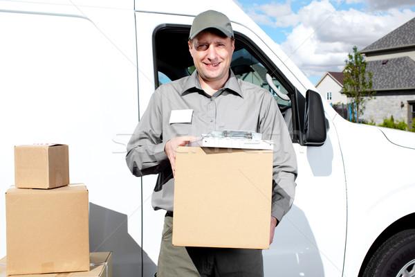 Foto d'archivio: Consegna · servizio · postale · uomo · felice · professionali · spedizione
