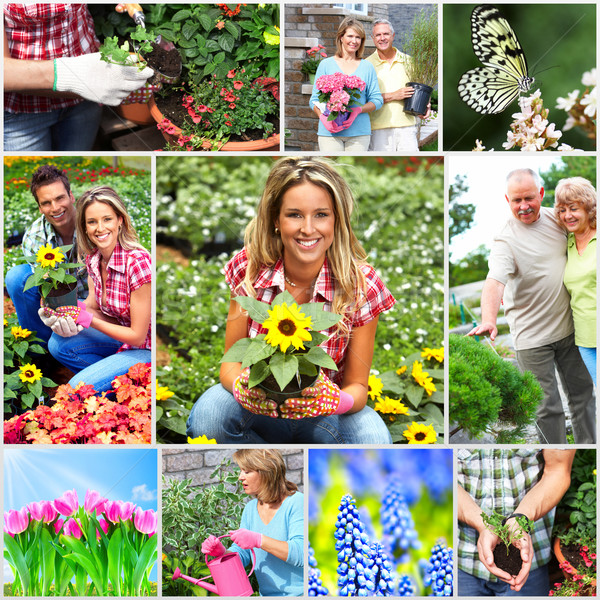 Stock photo: Gardening couple with flower.