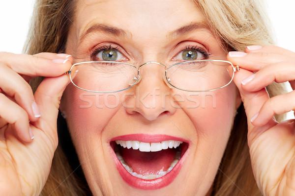 Belle supérieurs femme lunettes vision Photo stock © Kurhan