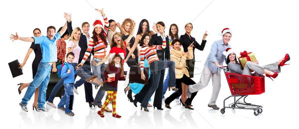 Happy running people group Stock photo © Kurhan