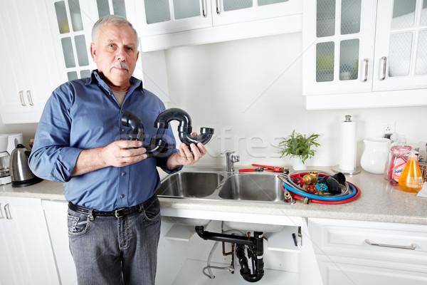 Foto stock: Encanador · cozinha · chave · inglesa · homem · casa · fundo