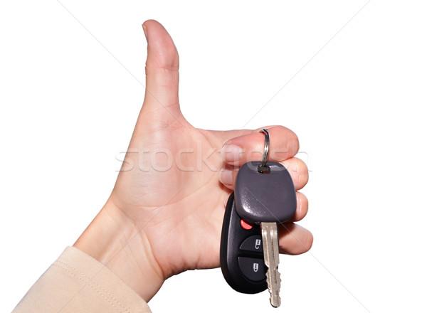 ドライバ 手 車のキー 孤立した 白 車 ストックフォト © Kurhan