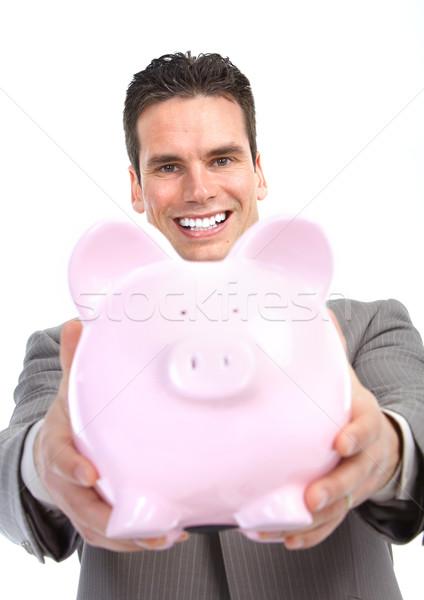 Stockfoto: Zakenman · spaarvarken · geïsoleerd · witte · business
