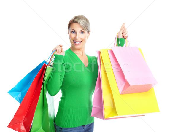 Stok fotoğraf: Alışveriş · kadın · mutlu · yalıtılmış · beyaz · yüz