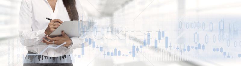 Business beurs financiële vrouw abstract Stockfoto © Kurhan